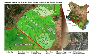 Map of the North Conservancy Area, Masai Mara, Kenya