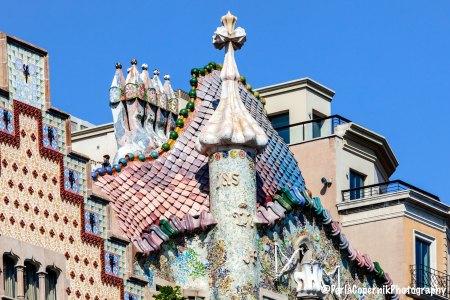 Casa Batllo roof and crooked chimneys